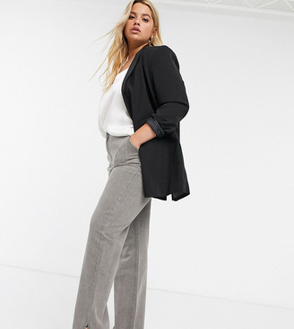 In The Style Plus x Fashion Influx straight leg jean with split hem detail in gray