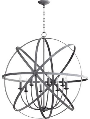 Willa Arlo Interiors Dian 8-Light Candle Style Globe Chandelier Willa Arlo Interiors Finish: Zinc
