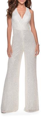 La Femme Sequin Pantsuit with Thick Cross-Back Straps