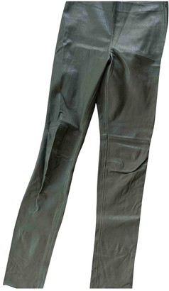 Hallhuber Green Leather Trousers for Women