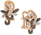 LeVian Le Vian® Chocolatier Diamond Flower Drop Earrings (1/3 ct. t.w.) in 14k Rose Gold