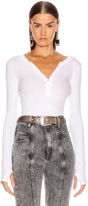 Enza Costa Silk Rib Long Sleeve Henley Top in White | FWRD