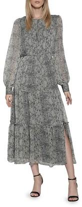 Walter Baker Snake-Print Chiffon Midi Dress