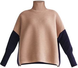 BEIGE Two Tone Ribbed Polo Neck Jumper With Side Splits In & Navy