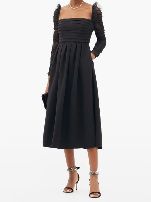 Thumbnail for your product : Self-Portrait Ruffled Dotted-tulle And Crepe Midi Dress - Black