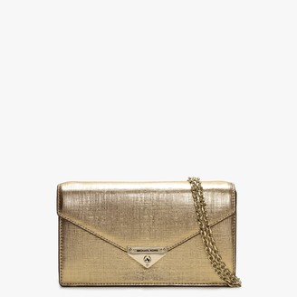 Michael Kors Grace Pale Gold Leather Envelope Clutch Bag
