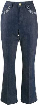 Escada contrast stitch kick flare jeans