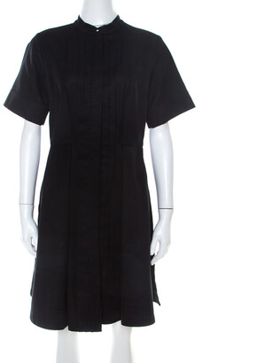 Proenza Schouler Black Cotton Pleated Button Front A Line Dress M