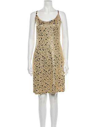 St. John Scoop Neck Knee-Length Dress Gold