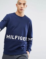 Tommy Hilfiger Crew Sweatshirt Across Logo In Navy
