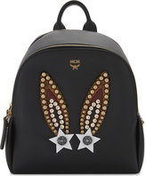 Mcm Ladies Black Embellished Luxury Bunny Polke Leather Backpack