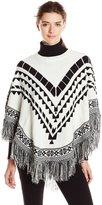 Kensie Women's Plush Knit Sweater Pancho