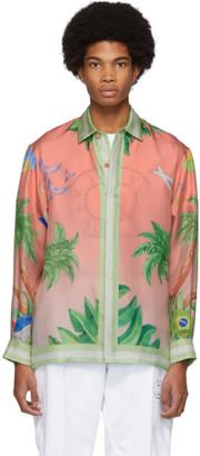 Casablanca Pink Silk Tennis Club Shirt