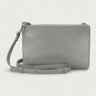 The White Company Leather Double-Pouch Cross-Body Bag, Grey, One Size