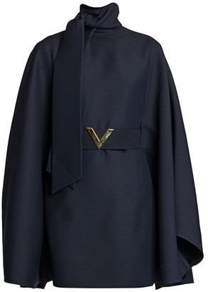 Valentino Crepe Couture Belted Cape Dress