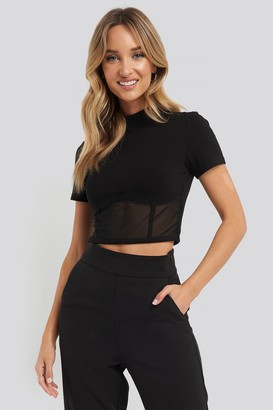 NA-KD Cropped Mesh Detail Top Black