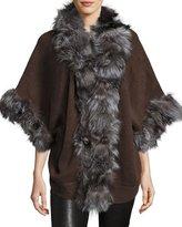 Adrienne Landau Fox-Fur Trim Knit Jacket, Brown