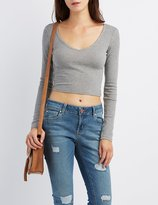 Charlotte Russe Ribbed V-Neck Crop Top