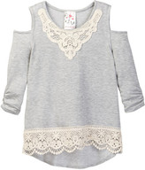 Jenna & Jessie Cold Shoulder Lace Trimmed Top (Big Girls)