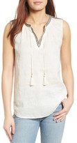 Nic+Zoe Women's Embroidered Linen Tank