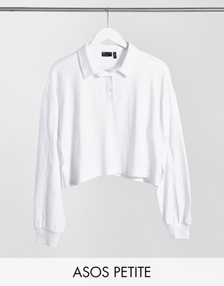 ASOS DESIGN Peite boxy crop polo with long sleeve in white