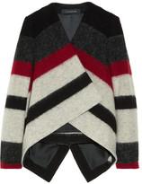 Striped brushed wool-blend jacket
