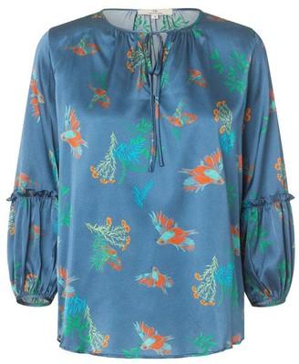 Charlotte Sparre String Blouse Brush Bird Blue - XS