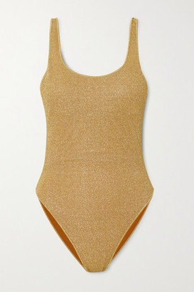 Oseree Stretch-lurex Swimsuit - Gold
