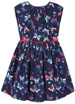 Yumi Butterfly Print Pleated Dress Navy