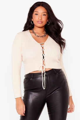 Nasty Gal Womens Tie Your Luck With Me Plus Knit Sweater - Cream