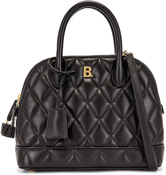 Balenciaga Small Quilted Leather Ville Top Handle Bag in Black | FWRD
