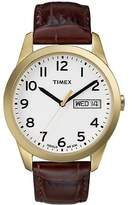 Timex Men's Elevated Classic | Gold-Tone Case Leather Strap | Dress Watch T2N065
