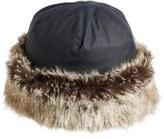 Barbour Women's 'Ambush' Waxed Cotton Hat With Faux Fur Trim - Blue