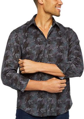SOCIETY OF THREADS Society Of Threads Untucked Performance Stretch Mens Long Sleeve Moisture Wicking Camouflage Button-Front Shirt