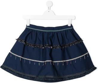 Stella Jean Kids TEEN fringe-trimmed A-line mini skirt