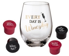 Lillian Rose Wine Lover Wine Glass with Winesday Saying and 4 Wine Bottle Stoppers