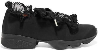 Ganni Harriet Chiffon-trimmed Satin-twill Sneakers - Black