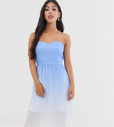 Chi Chi London Petite pleated bandeau midi dress in blue