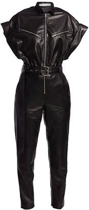 IRO Moreno Short-Sleeve Leather Jumpsuit