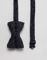 Asos Bow Tie In Navy Boucle Texture