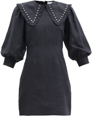Ganni Studded Linen Midi Shirt Dress - Black