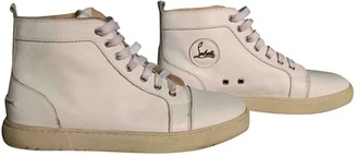 Christian Louboutin Beige / Grey Leather Trainers