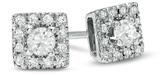 Zales 1/4 CT. T.W. Diamond Square Frame Stud Earrings in 10K White Gold
