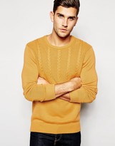 Asos Cable Jumper In Cotton - Yellow