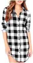 Kumer Women's Plaid Loose Long Sleeve Casual Long Top Shirt Blouse