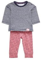 F&F Striped Top and Cat Print Leggings Set, Newborn Girl's