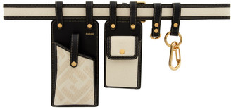 Fendi Black and Off-White Canvas Multi Pockets Belt Bag