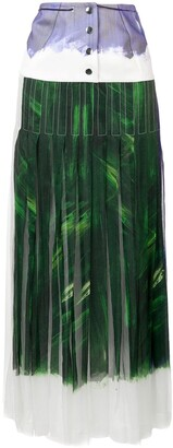 Victoria Beckham Yoke Panel Pleated Maxi Skirt