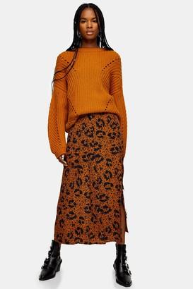 Topshop Womens Tan Floral Animal Print Midi Skirt - Tan