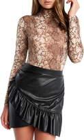 Bardot Snake Print Long Sleeve Bodysuit